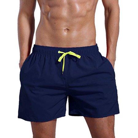 LELINTA Men's Swim Shorts Swimwear Swimming Trunks Charm Solid Color Casual Quick Dry Beach Underpants Black/ Blue/ Green/ Navy (Shocking Mens Swimwear)