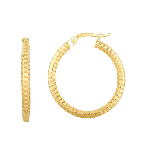 10K Yellow Gold 20x2.5mm Shine+Textured Round Tub e Round Hoop Earring with Hinged Clasp