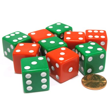 Koplow Games Set of 10 Large Six Sided Opaque 19mm D6 Dice - Christmas Colors 5 Green & 5 Red #02087 ()