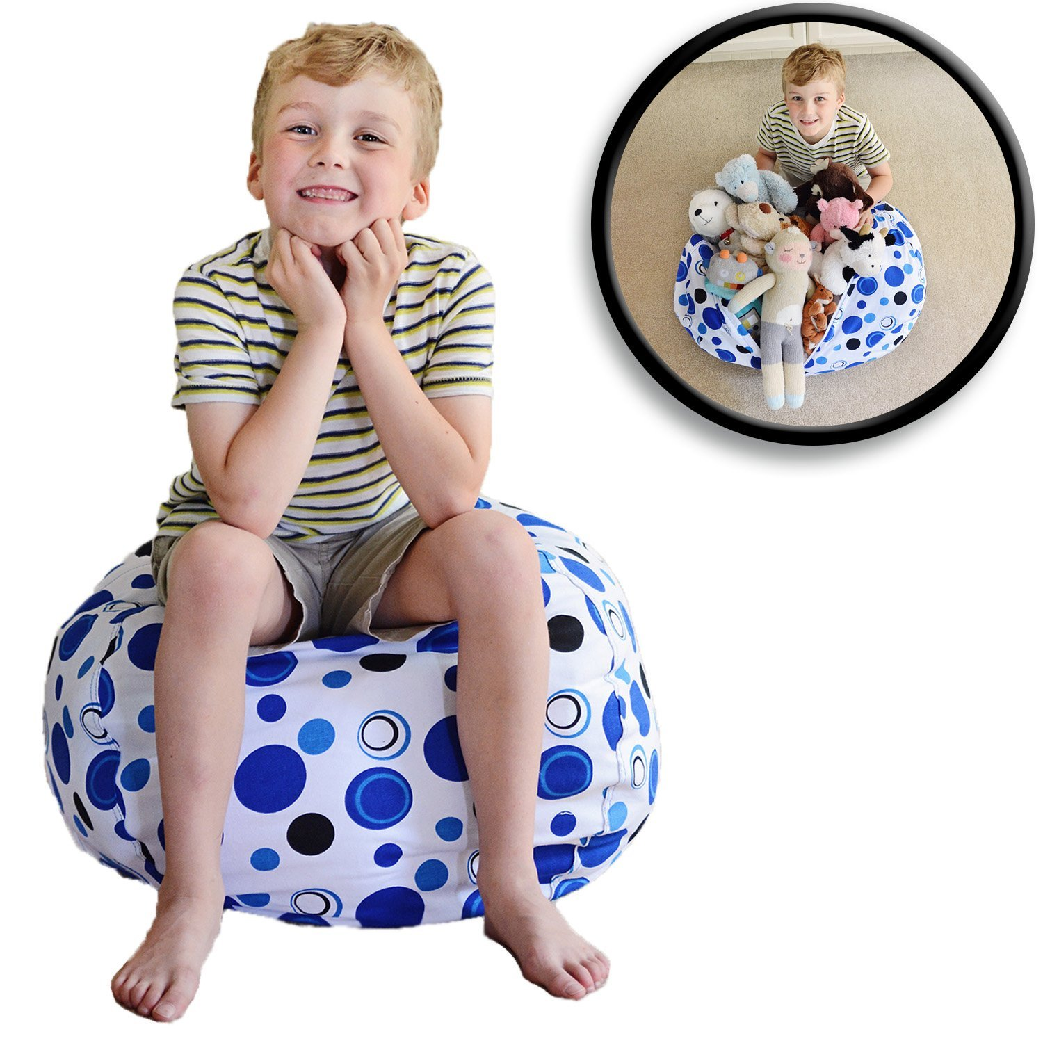 "Stuffed Animal Storage Bean Bag Chair - Premium Cotton Canvas - Clean up the Room and Put Those Critters to Work for You! - By Creative QT (27"", Blue Polka Dot)"