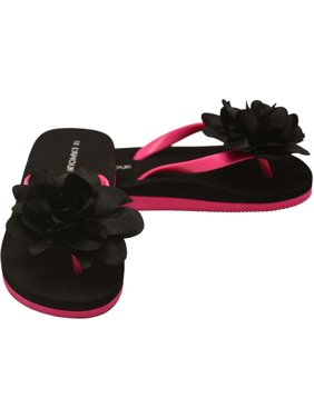 c450eadd6d734 Product Image L`Amour Little Girls Black Organza Flower Flip Flops