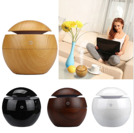 Wood Grain Aromatherapy Quiet Air Humidifier,130ML Mini Ultrasonic Cool Mist Humidifier Essential Oil Diffuser USB Charging