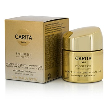 Progressif Anti-Age Global Perfect Cream Trio Of Gold For Eyes & Lips 0.47oz