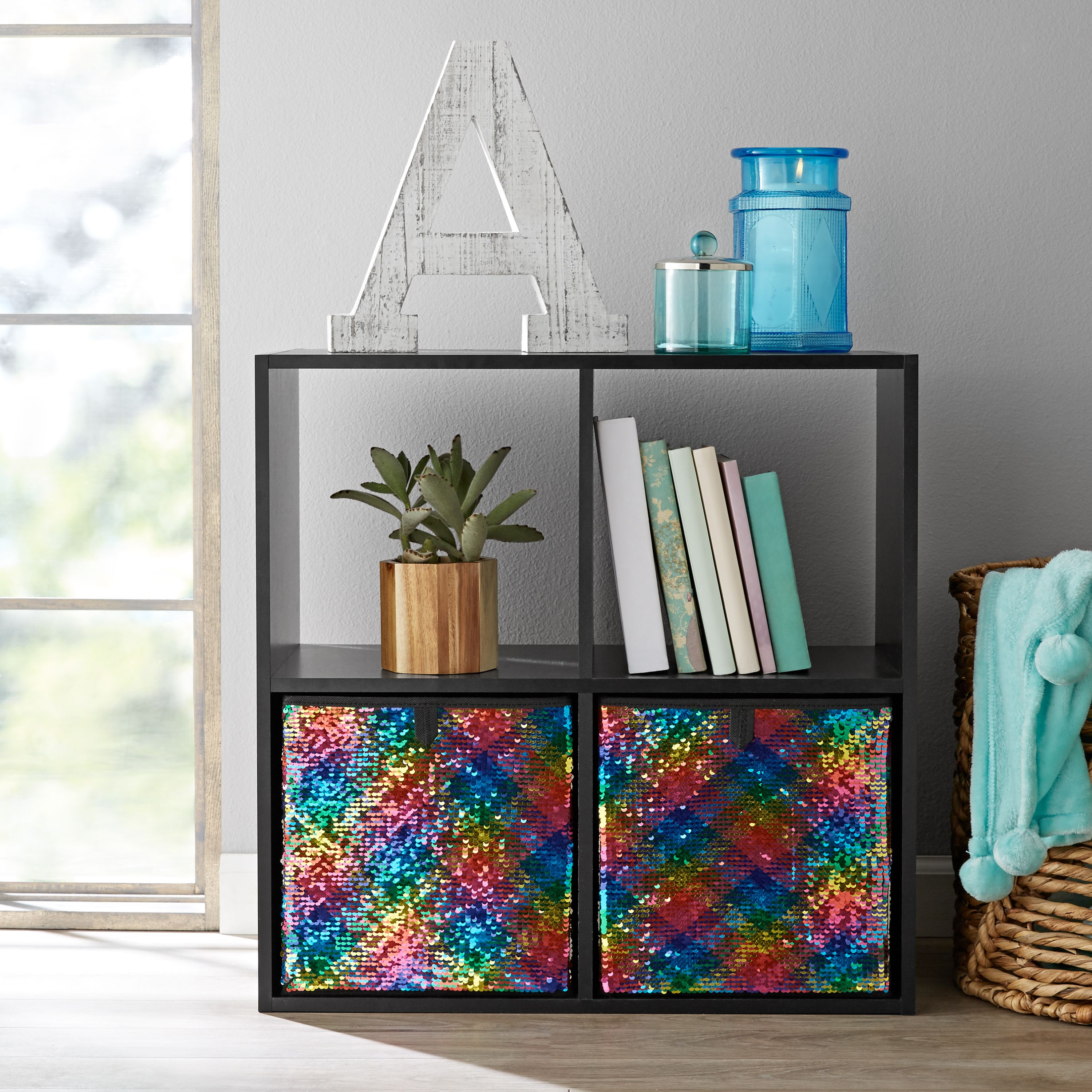 "Mainstays Reversible Sequin Cube Storage Bins (10.5"" x 10.5""), Set of 2, Multiple Colors"
