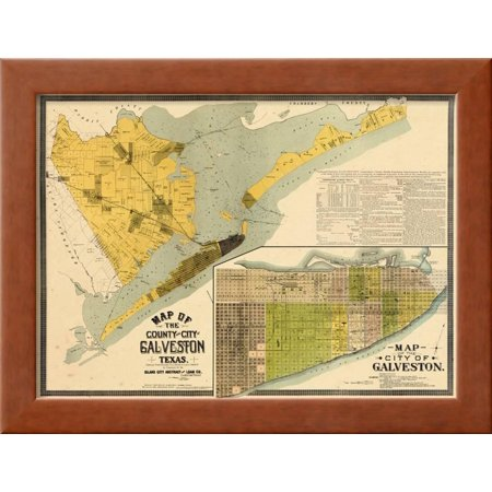 1891, Galveston County Wall Map, Texas, United States Framed Print ...