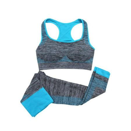 Quick Dry Sportswear Women Fitness Girls Yoga Slim Tank Tops + Pants Cropped (Hood Top Pants)