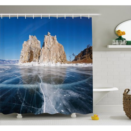 Winter Shower Curtain, Frozen Lake Baikal in Siberia Icicles Scenic Nature Structure Cold Climate, Fabric Bathroom Set with Hooks, 69W X 70L Inches, Blue Caramel White, by (Best Window Material For Cold Climates)
