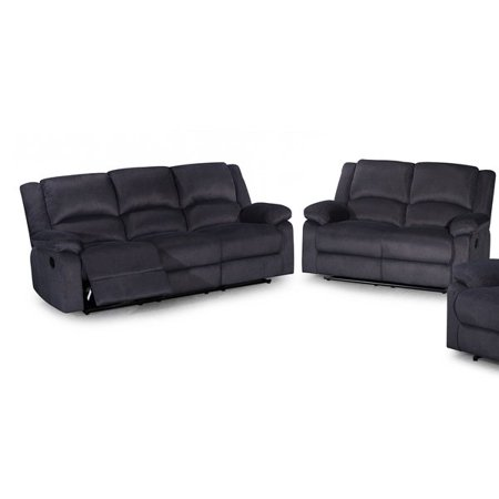 Admirable Us Pride Furniture Gus Contemporary 2 Piece Microfiber Fabric Reclining Sofa Set Dark Grey S6027 2Pc Pdpeps Interior Chair Design Pdpepsorg