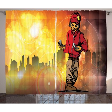 Hip Hop Curtains 2 Panels Set, Rap Music and Dance Themed Image with a  Rapper Guy and City Skyline Background, Window Drapes for Living Room  Bedroom,