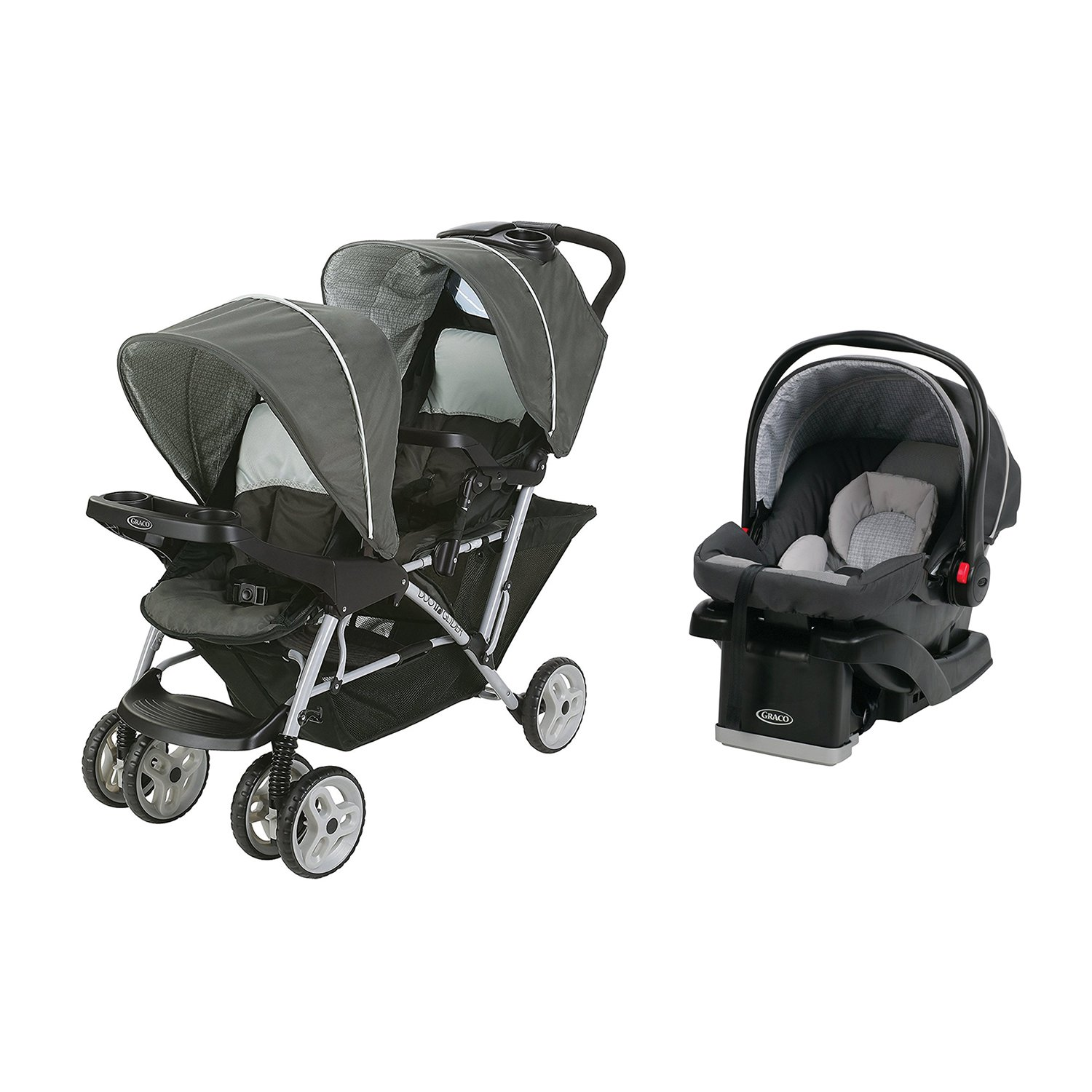 Graco DuoGlider Click Double Stroller + Infant Car Seat Travel System | Glacier by Graco