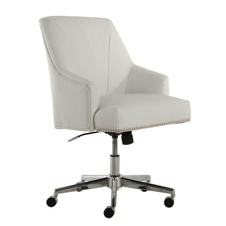 Serta Style Leighton Home Office Chair, White Bonded Leather