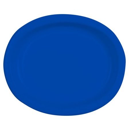 Electric Blue Oval Paper Platters, 10ct