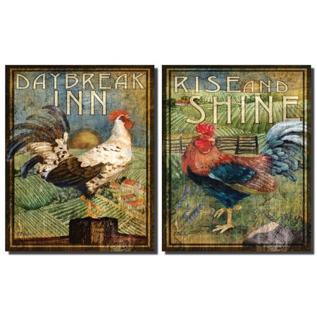 2 Retro Rooster Rustic Art Prints Country Kitchen Decor, 8 by 10-Inch, Green; Two Ready to Hang Mounted - Black Rooster Decor