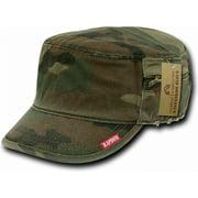 RapDom French Round Bill Mens Cadet Cap [Woodland Camouflage - XL]