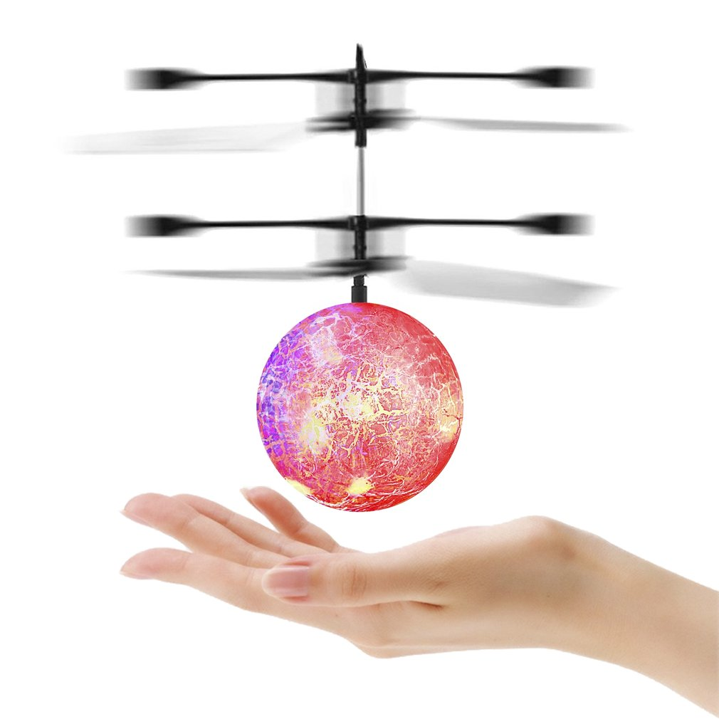 RC Flying Ball Infrared Induction Helicopter Ball with Rainbow Shinning LED Lights and Remote Control for Kids