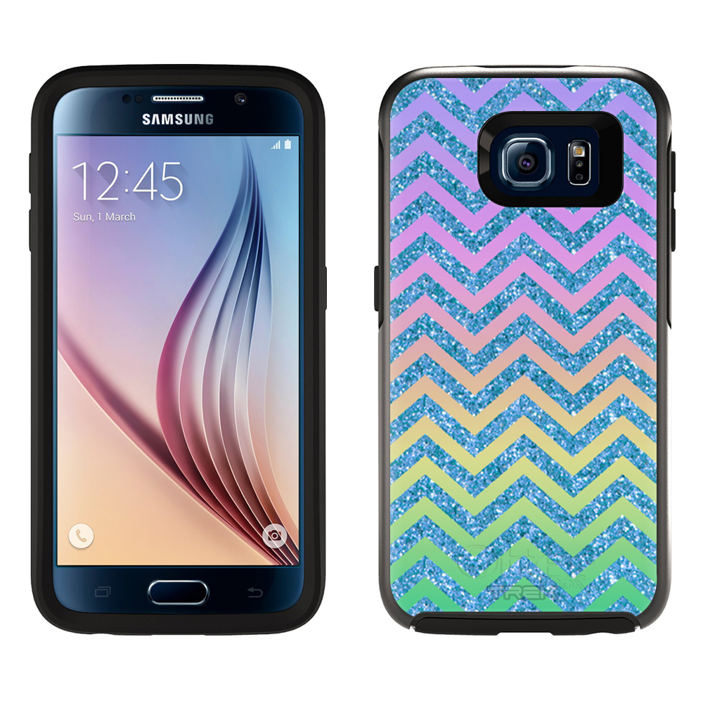SKIN DECAL FOR OtterBox Symmetry Samsung Galaxy S6 Case - Rainbow on Chevron ZigZag Blue DECAL, NOT A CASE