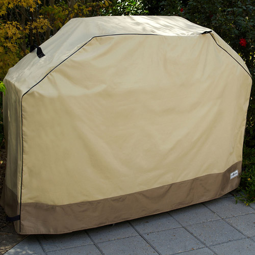 """Sure Fit 60"""" Medium Two-Tone Grill Cover, Taupe/Olive"""