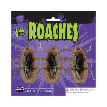 Roaches 6 Inch Insect Bug 3 Piece Halloween Decoration Toy Prank Accessory
