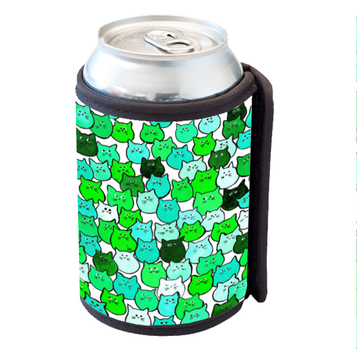 KuzmarK Insulated Drink Can Cooler Hugger - Very Green Tiny Chubby Kitties Art by Denise Every