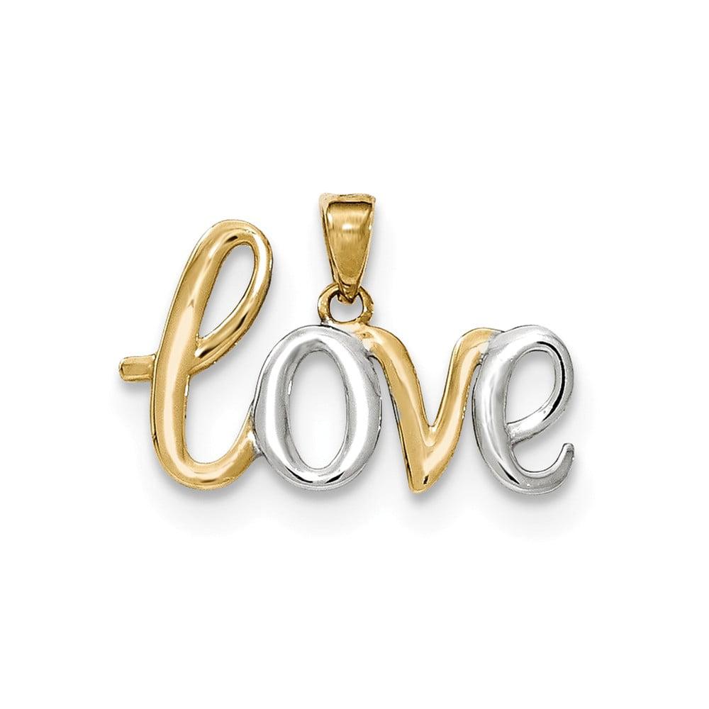 14k Yellow Gold & Rhodium LOVE Pendant
