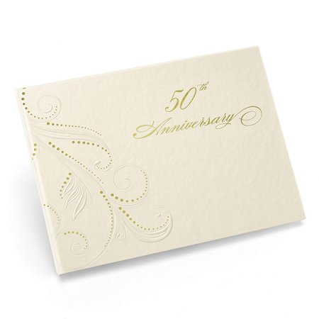 Hortense B. Hewitt Wedding Accessories 50th Anniversary Swirl Dots Guest Book, Ivory, Give guests someplace special to share their well wishes with.., By Hortense B Hewitt