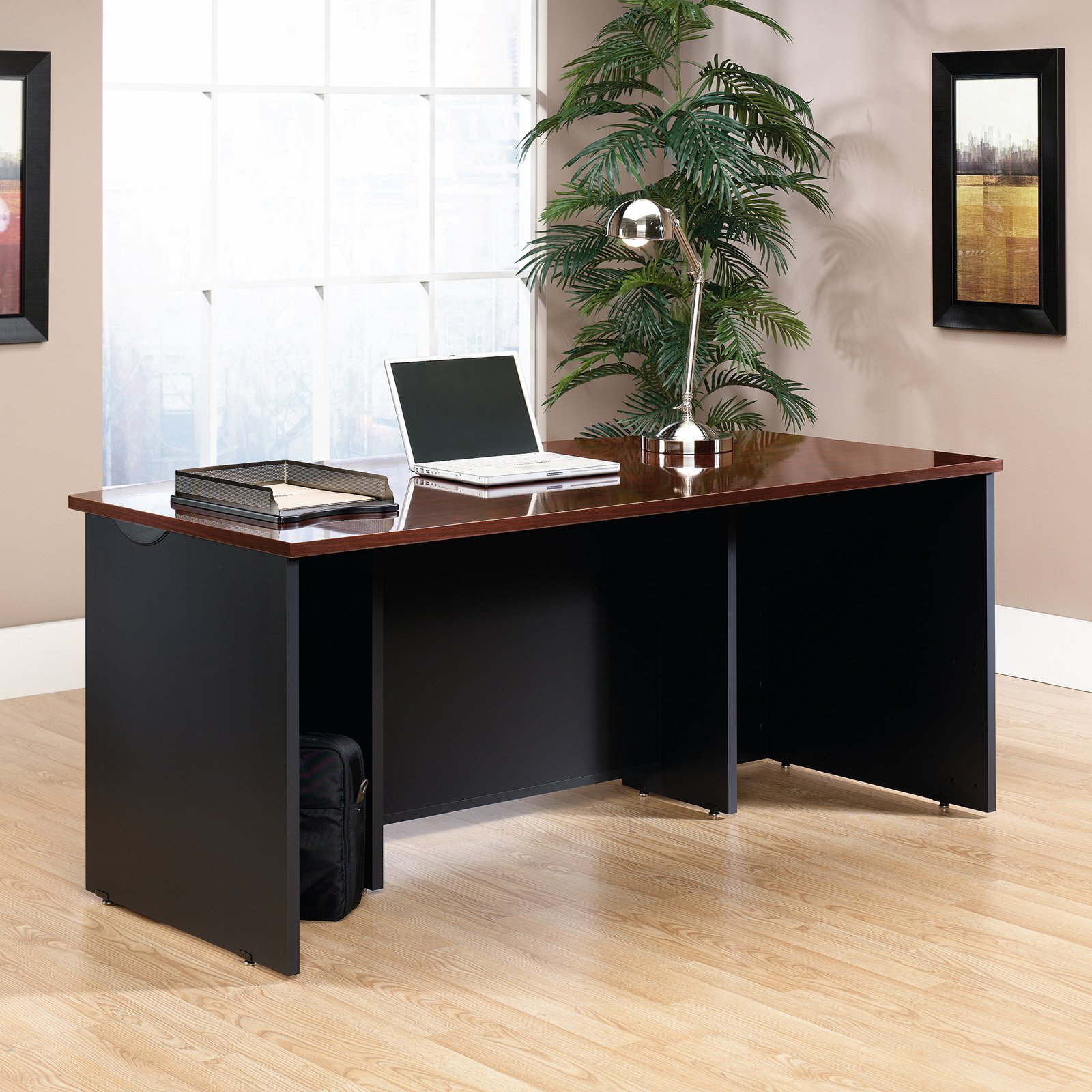 Sauder Office Furniture Via Executive Desk in Classic Cherry