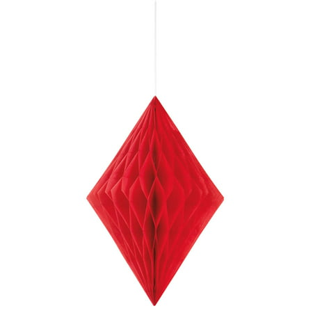 Diamond Tissue Paper Decoration, 14 in, Red, 1ct