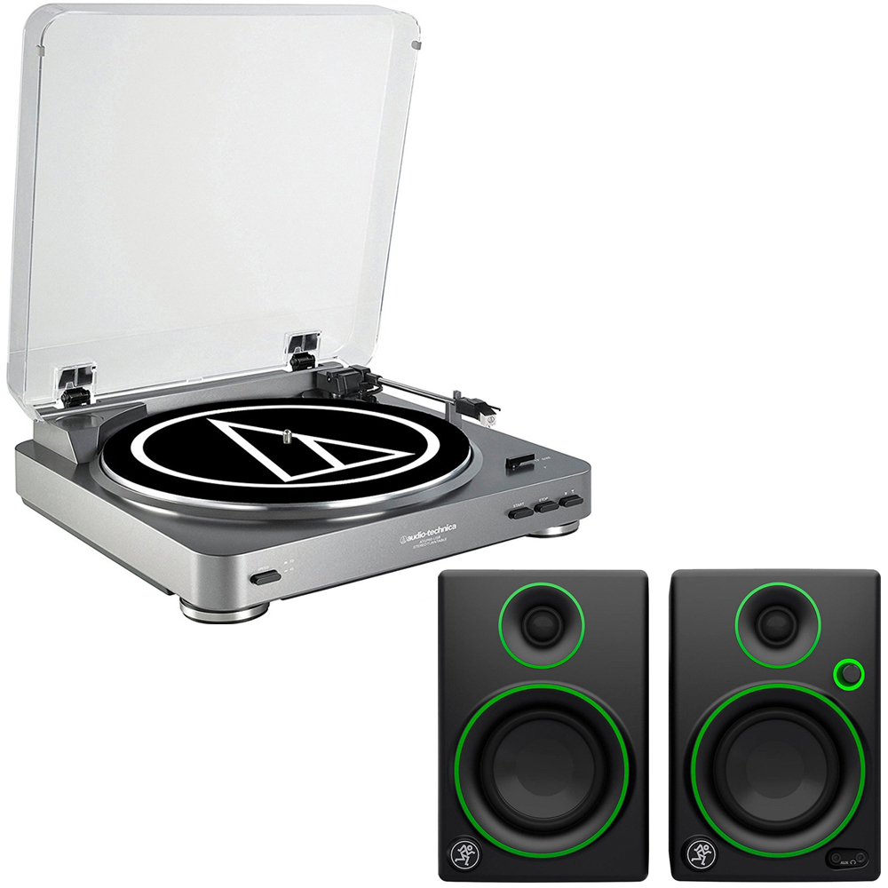 "Audio-Technica AT-PL60USB USB Turntable + Mackie CR Series CR3 - 3"" Creative Reference Multimedia Monitors (Pair)"