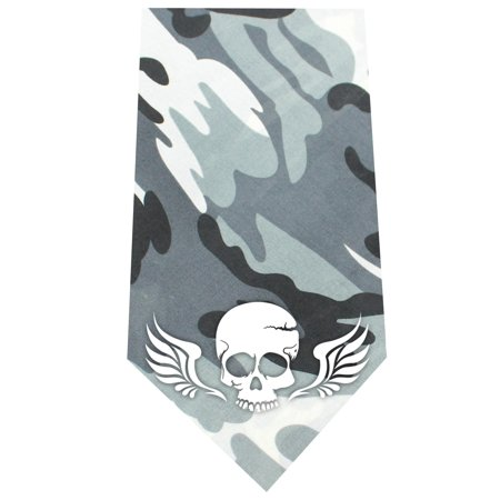 Skull Wings Screen Print Bandana Grey Camo