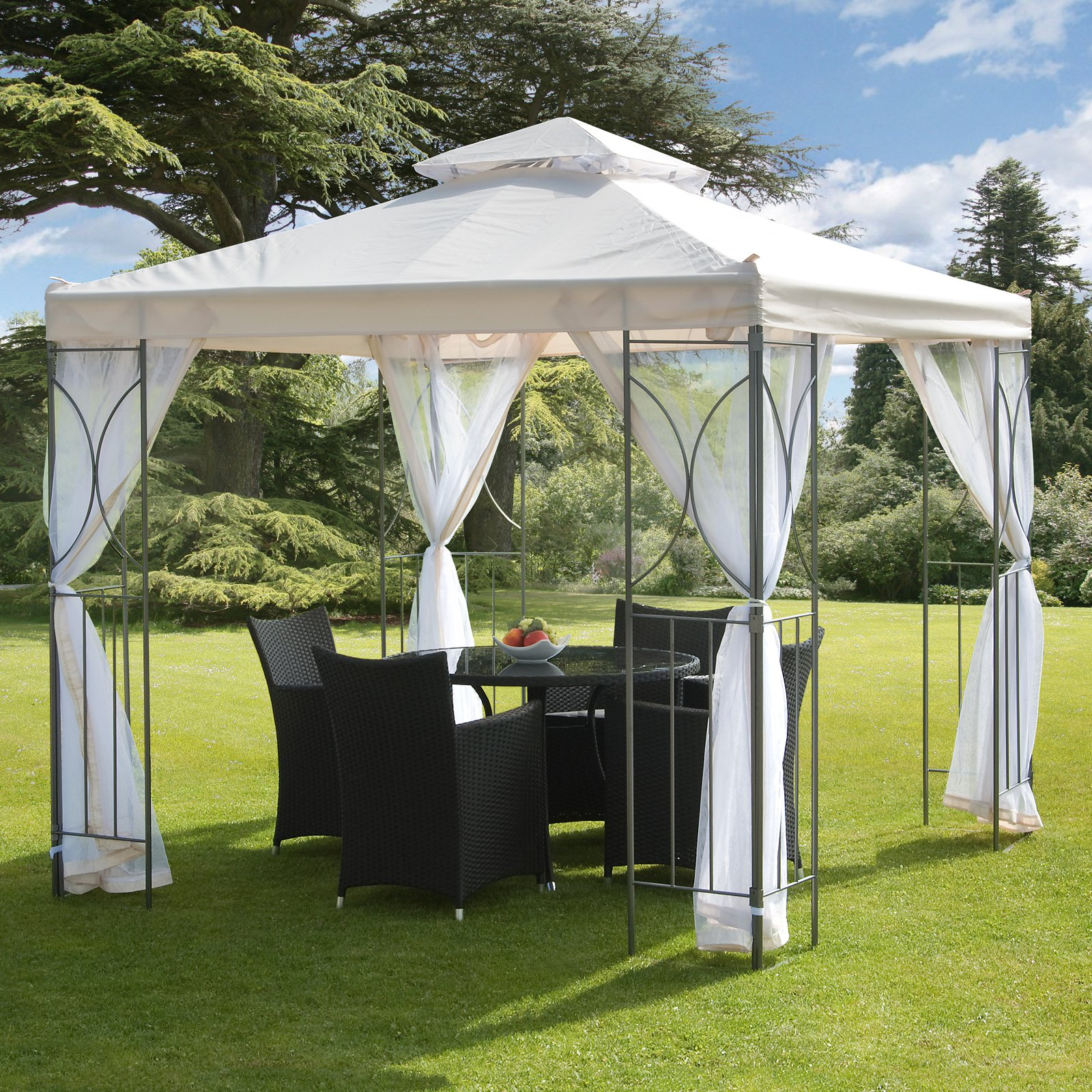 "Polenza 98"" Cream Gazebo Net PA Coating Steel White Net by Gazebos"