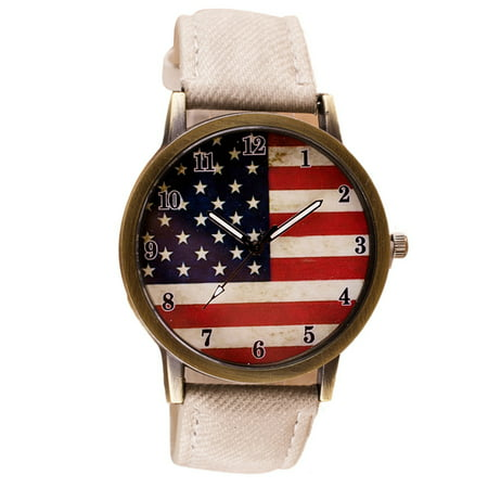 United States American Flag Watch White Jean Band Style Patriotic U.S.A. Man Woman (Ck Mens Watches Jean)