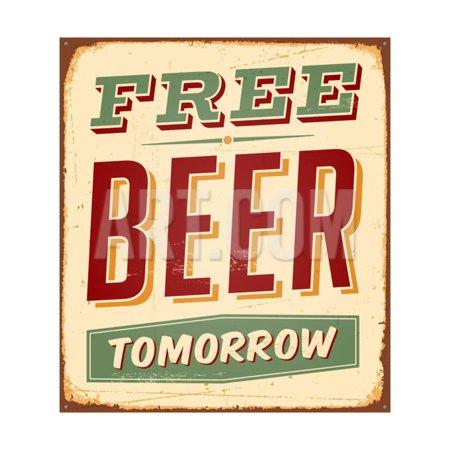 - Vintage Design -  Free Beer Tomorrow Print Wall Art By Real Callahan