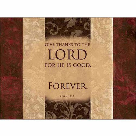 Lord Is Good Forever Psalm Traditional Distressed Panel Religious Painting Brown & Red Canvas Art by Pied Piper Creative