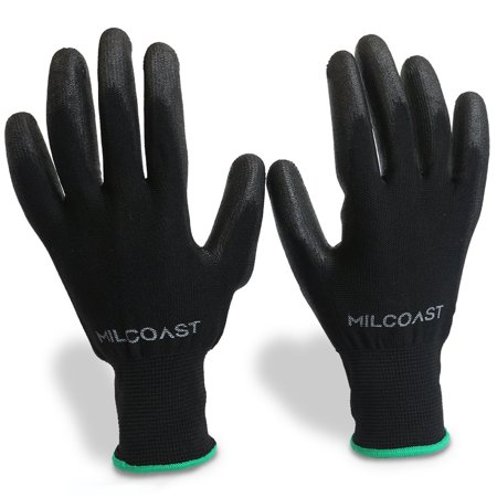 Milcoast Breathable Ultra-Thin Flexible Gloves Polyurethane Palm Coated for Work and Handling - Pack of 20 Pairs (Medium)