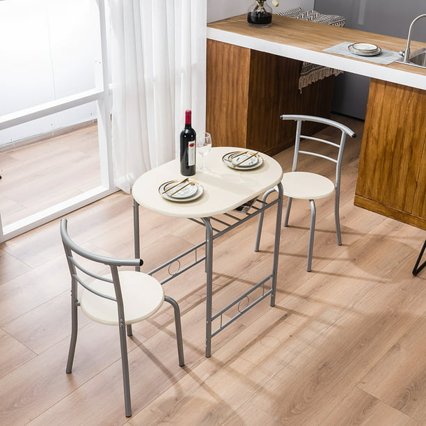 3 Piece Dining Set Round Kitchen Table Home Kitchen Furniture Table And 2 Chairs Durable Metal