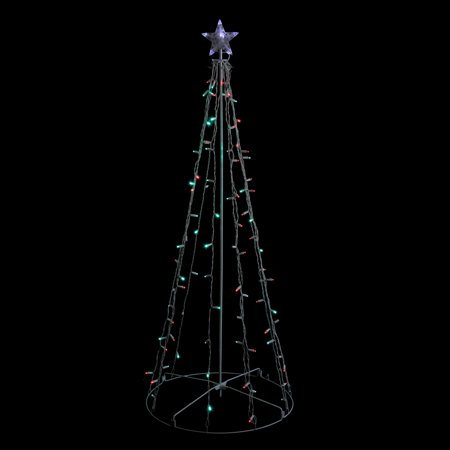 5' Red and Green LED Lighted Twinkling Christmas Tree Outdoor Decoration ()