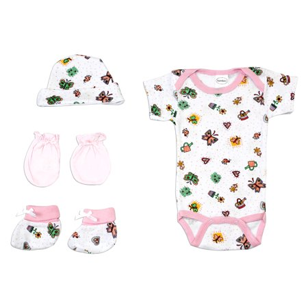 - Newborn Baby Girls 4 Pc Layette Baby Shower Gift Set