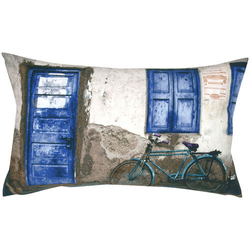 India's Heritage Cycle and Door Print Pillow