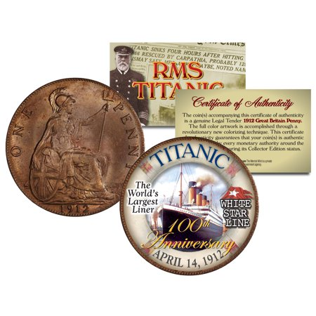 RMS TITANIC *100th Anniversary* Colorized 1912 Great Britain Penny Coin British