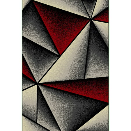KING Modern Contemporary Abstract 5X8 5x7 Rug Carpet 7210 Grey Gray Red