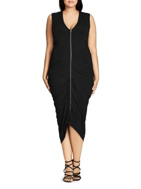 4dd6c5a7585 Product Image City Chic Womens Plus Ruched Zip Front Bodycon Dress