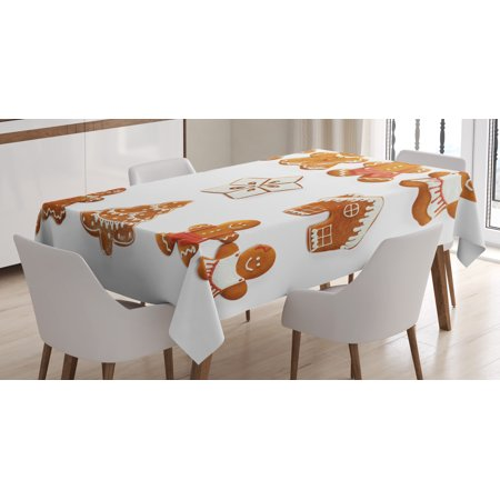 Gingerbread Man Tablecloth, Vivid Cute Christmas Gingerbread Biscuits Set Snowflake House Tree, Rectangular Table Cover for Dining Room Kitchen, 52 X 70 Inches, Light Brown White, by Ambesonne