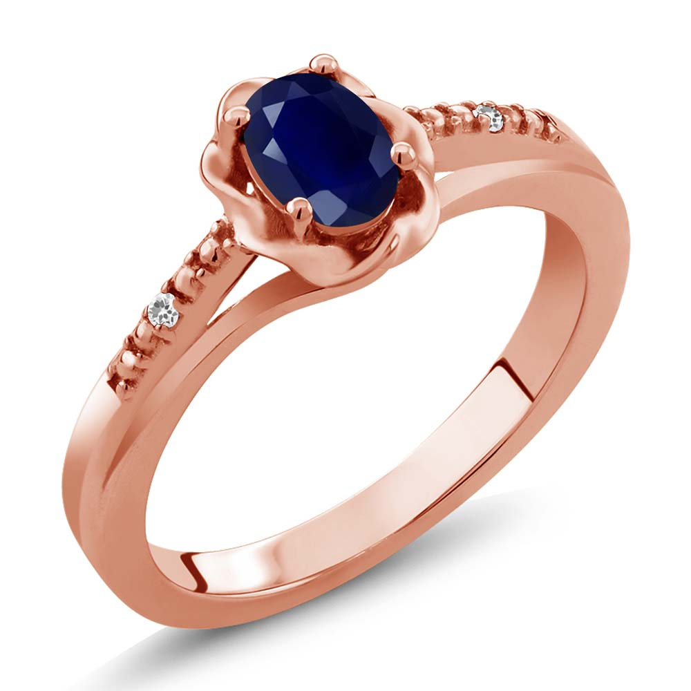 0.57 Ct Oval Blue Sapphire White Sapphire 14K Rose Gold Ring