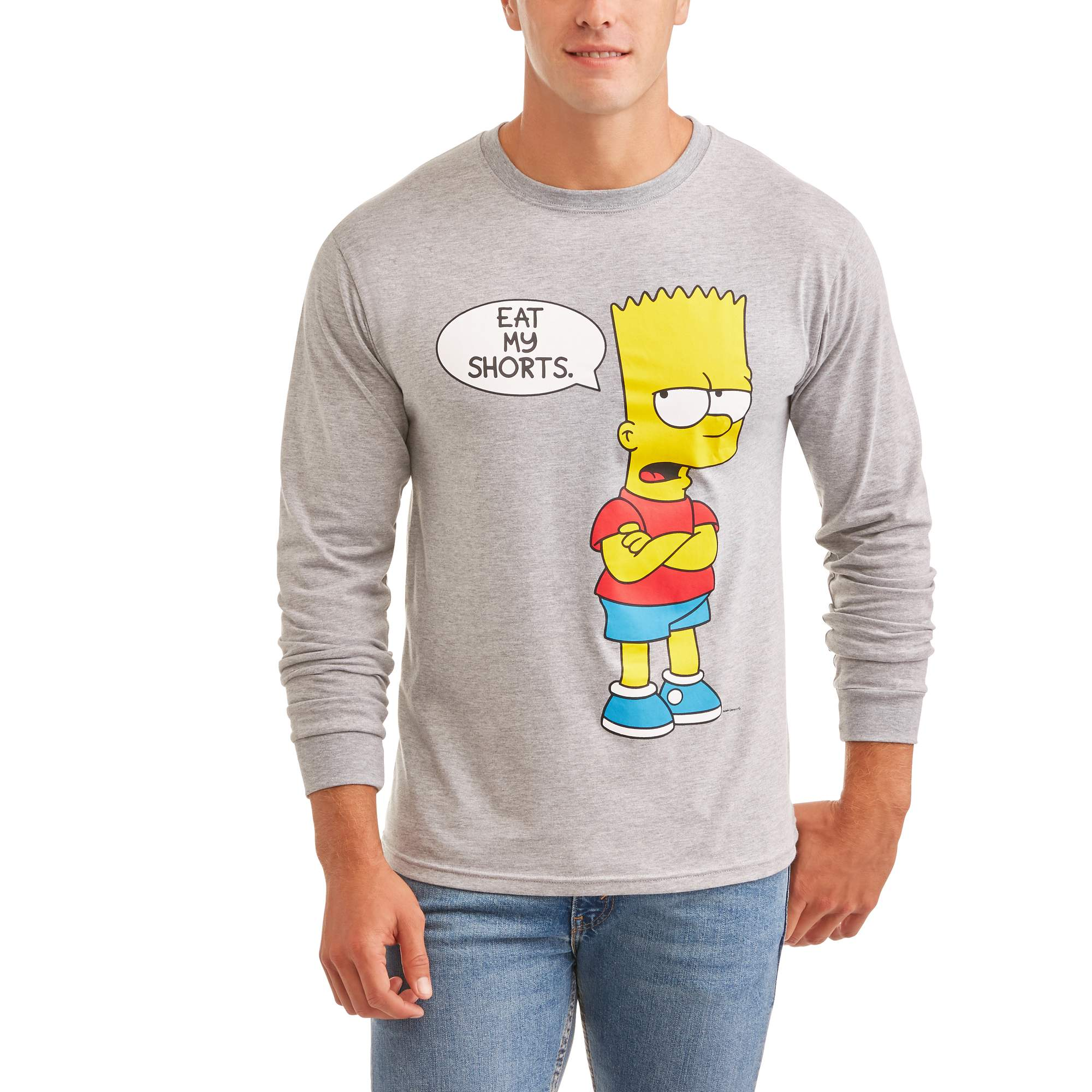 Bart Simpson Men's 'Eat My Shorts' Long Sleeve Graphic Tee