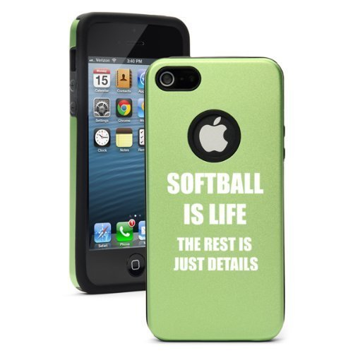 Apple iPhone 6 6s Shockproof AS Aluminum & Silicone Hard Soft Case Cover Softball Is Life (Green),Daylor