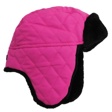 Fur Quilted Hat - Girls Quilted Pink & Black Faux Fur Aviator Trapper Hat