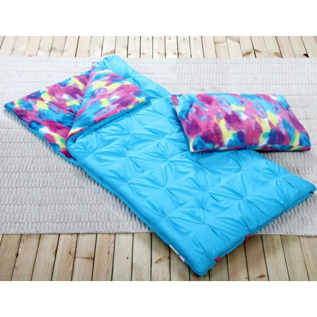 Sleeping Bag and Pillow Cover, Blue Tie-Dye Indoor Outdoor Camping Youth Kids Girls](Sleeping Bag Pillow)