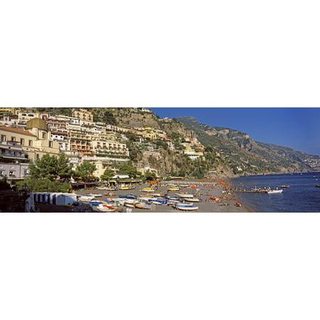 Houses in the village on a hill Spiaggia di Marina Grande Positano Amalfi Coast Italy Poster Print
