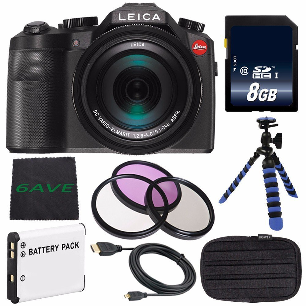 Leica V-LUX (Typ 114) Digital Camera (International Model no Warranty) + Replacement Lithium Ion Battery + Flexible Tripod with Gripping Rubber Legs + Mini HDMI Cable Bundle 4