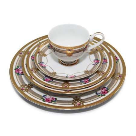 - Royalty Porcelain Floral 5pc Place Setting for 1, 24K Gold-Plated
